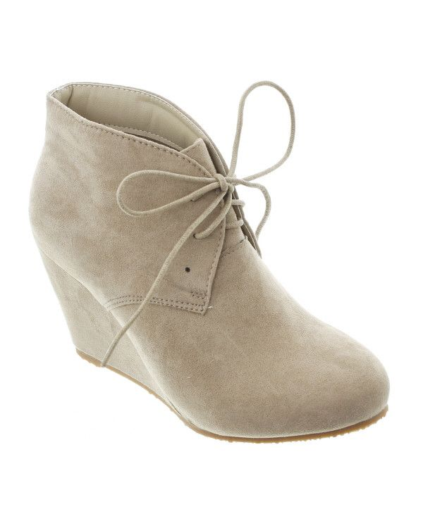 Sally-5 Faux Suede Wedge Ankle Boot