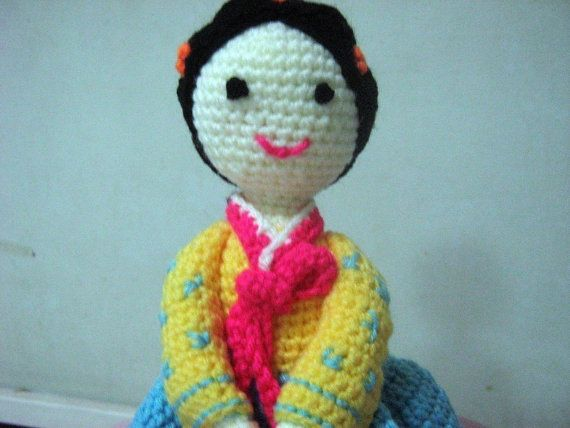 Korean Lady Crochet Pattern Amigurumi Crochet Pattern Pdf Hanbok Pattern Lady Hea in Korean Traditional Dress by Amy Lim
