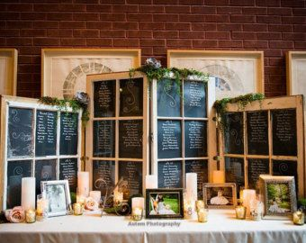 UPCYCLEd Window panes | Shabby Chic Escort Table Seating Ch art - Four Window Panes ...