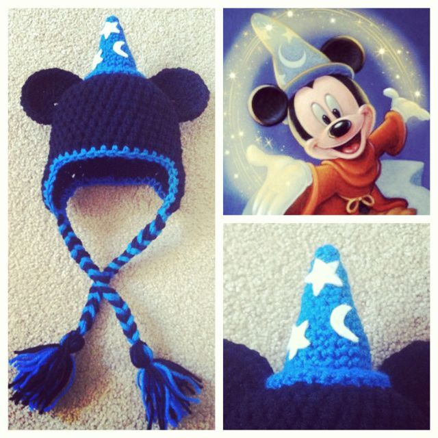Paid pattern...pinned for inspiration.Crochet Mickey Mouse Wizard Hat. This is just too cute!!! :D