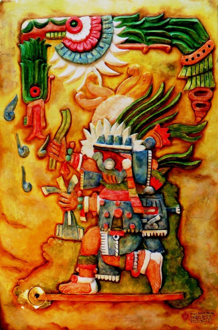 """2012 Mural de la serie """"Dioses Precuauhtémicos"""" de pequeño formato: Tláloc (Cultura Mexica), Hotel del Ejército y Fuerza Aérea Mexicanos, Batalla de Celaya No. 13, Col. Lomas de Sotelo, México, D.F."""