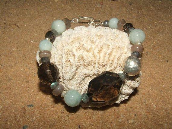 Smoky Quartz Aquamarine and Sterling Silver Bracelet by Lapideum