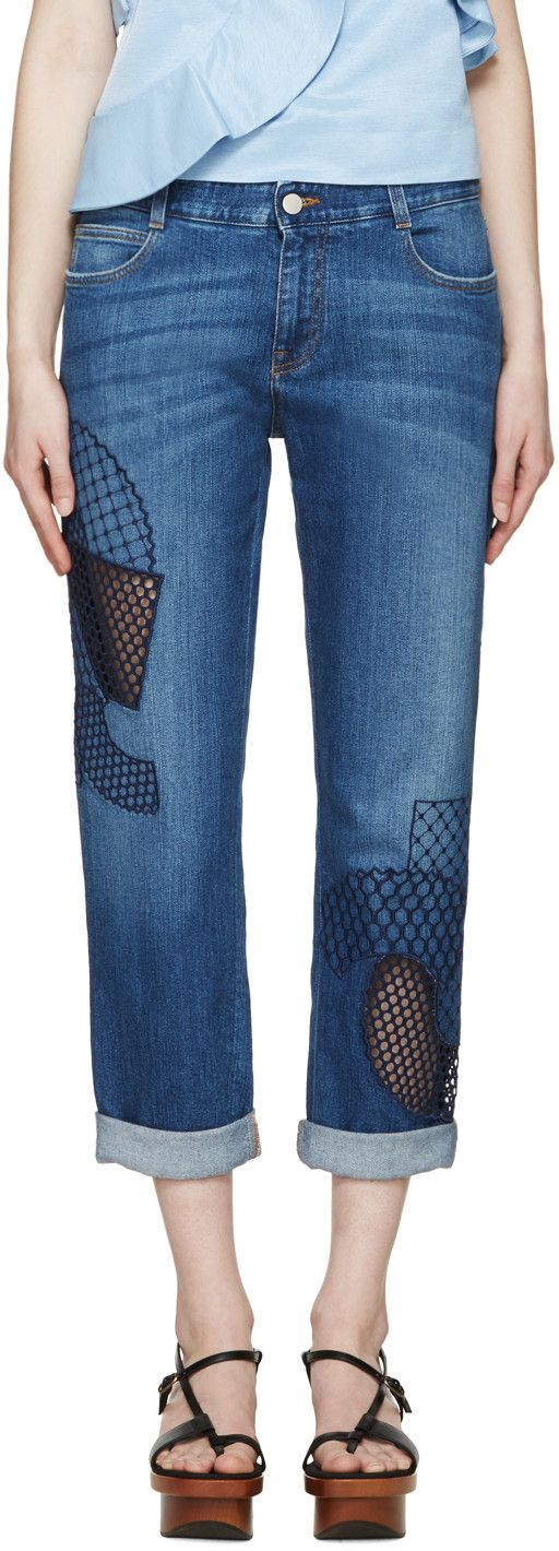 Stella McCartney - Blue Embroidered Tomboy Jeans
