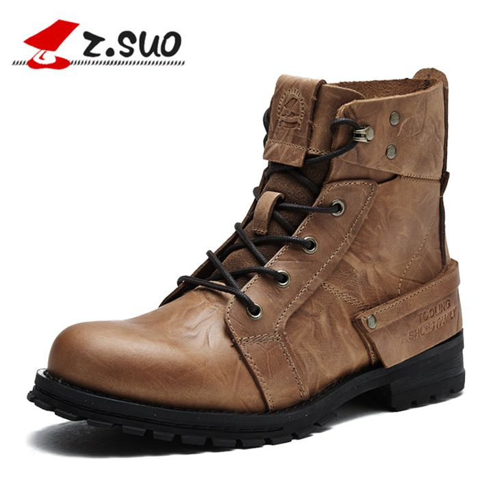 Z.Suo Men Boots Head Layer Cowhide Leisure Fashion Man Boots Leather with Retro Men's Boots Botas Hombre Military Boots 15168