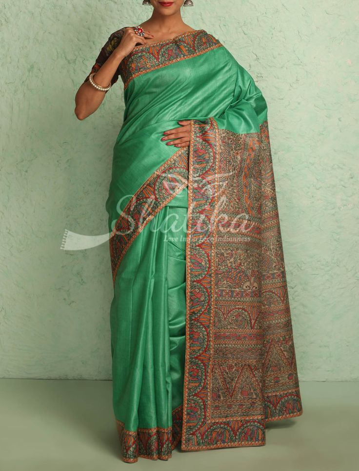 Chitra Plain Sea Green With Intricate Handpainted Border Pallu Madhubani Silk Saree
