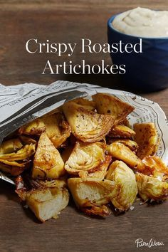 Crispy Roasted Artichokes via @PureWow. Served with plenty of garlic aioli for dipping. From dips to pasta dishes, there are plenty of ways to cook with artichokes. But in our humble opinion, the most delicious way to enjoy this springtime veggie is roasted in the oven until golden and crispy. Serve with an easy garlic aioli for dipping, and voilà.