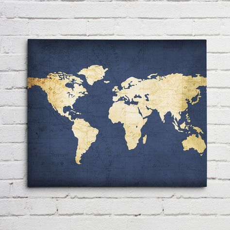 We Love World Maps! This world map is shown with a Navy Blue vintage map background with the continents in a gold/beige map background.  CANVAS DETAILS:  • PRINT: Stretched canvas, 1.5 gallery wrap, perfect corners, rich, vibrant, inks w/ sharp detail. • HANG: Ready to hang, no framing necessary.  AVAILABLE SIZES:  8x10 - $45 11x14 - $65 16x20 - $85 20x24 - $95 24x36 - $115 30x40 - $150 35x48 - $199 40x60 - $250  I can also do custom sizes, convo me for a price quote.  SHIPPING:  • Ships in…