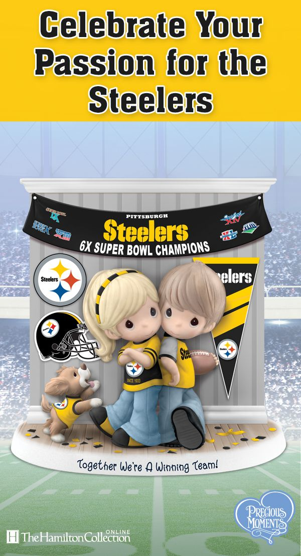 Are you a Steelers fan for life? So is this Precious Moments couple! Decked out in team colors and posed among Steelers logos, pennants, confetti and more, these cuties are celebrating the 6 Super Bowl wins of their favorite team, the Pittsburgh Steelers. Now you can celebrate with them: