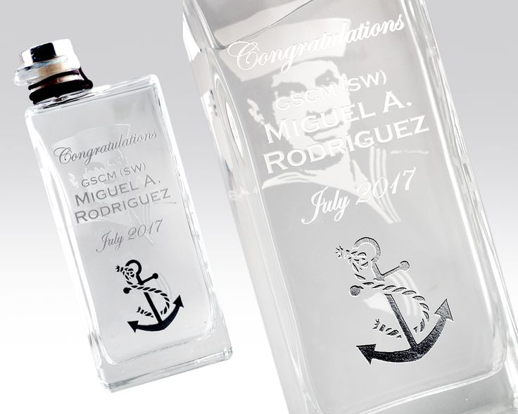 What an amazing project to work on. Gabriela wanted to create a special gift for her uncle, to commemorate his years of service in the US Navy.   Starting with his favorite tequila, we converted and etched a photograph from the beginning - when he first joined the Navy!  Add a personalized message, and a little custom art for flair - and you've got the recipe for a perfect retirement gift!  #etchingx #etched #tequila #usnavy #navy #custom #art #customart #design #beautiful #retirement #gift…