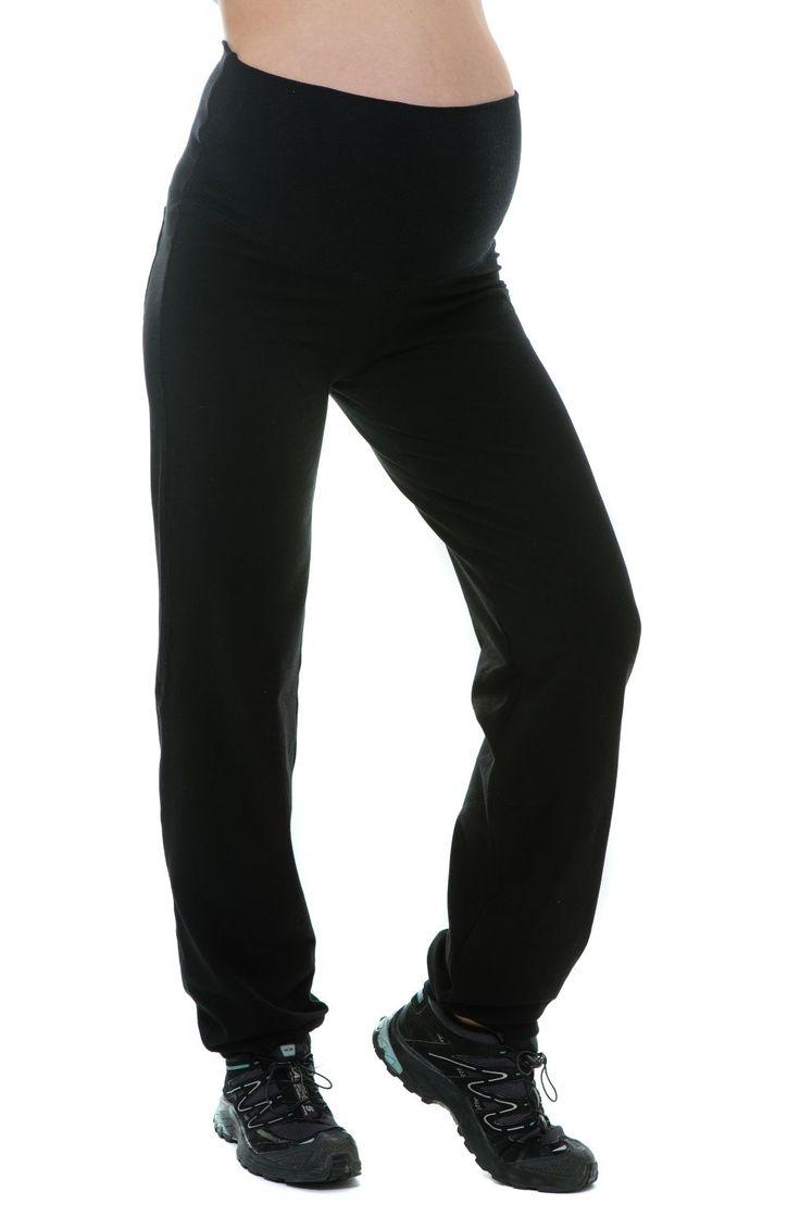 Le pantalon de fitness de grossesse avec une bande noir