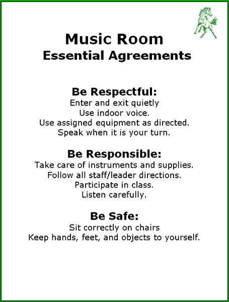 Music Room agreements: same as our PBIS rules for our school!