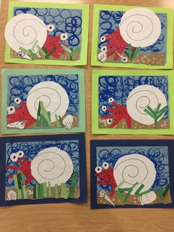 Kindergarten hermit crabs- texture painting-Art with Mr. Giannetto blog