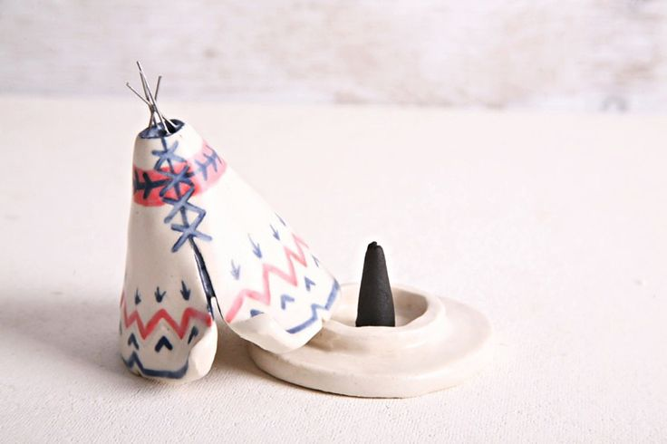 Ceramic Incense Burner TeePee that smokes, Blue, White, and Coral, Native American, Aztec Design, Stoneware Clay Pottery, Unique Yogi Gift by JessicaHicklin on Etsy