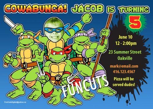 Teenage Mutant Ninja Turtles Invitation, Birthday Invitation, invites