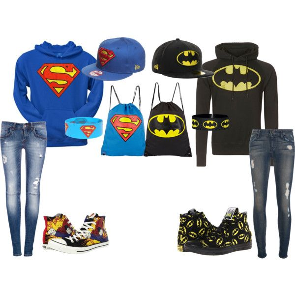 """Superman and Batman Best Friend Outfits."" - Teen Fashion - follow @Christina Childress Spencer Fashion"