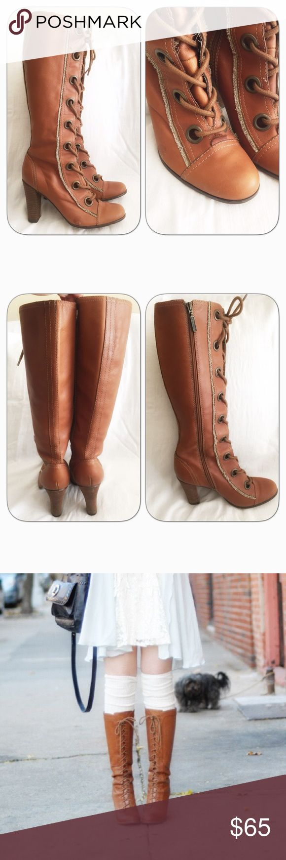 """Brown Lace Up Seychelles Boots Amazing vintage style lace up boots. 3.5"""" heels. Adjustable with side zipper and front laces. No flaws noted. Re-poshed as they didn't fit me. 😕 Seychelles Shoes Lace Up Boots"""