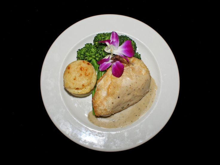 PLATED SERVICE- CHICKEN PRINCESS: Frenched Chicken Breast Stuffed with Asparagus, Sundried Tomato, Gruyere Cheese and Prosciutto, Fresh Herb Veloute, Potato Dauphinoise and Broccolini