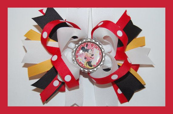 MINNE MOUSE Yellow Red Black White Hair Bow w/Bottle Cap Attached to Alligator Clip.. Made with Grosgrain Ribbon.. on Etsy, $6.99
