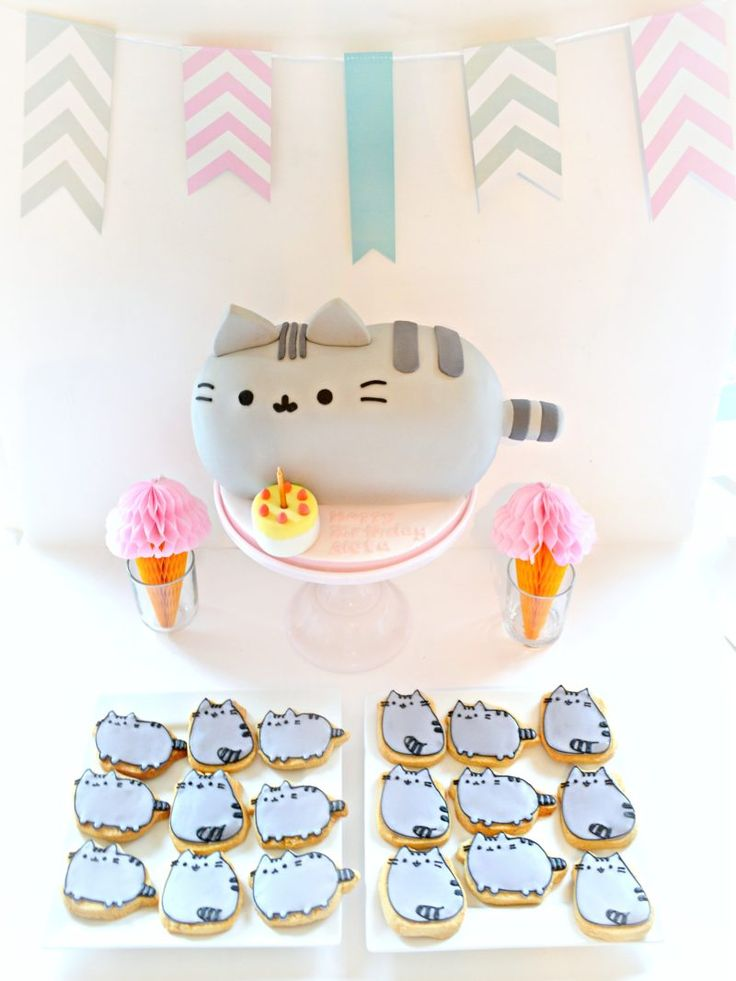 Pusheen Cat Cake and Cookies Birthday Party Cake Desserts Table Cherie Kelly London