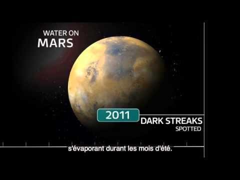 Mars   la NASA annonce la découverte d'eau liquide salée sur la planète ...
