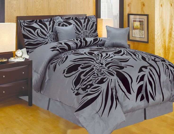queen king and or curtain modern style gray black comforter set