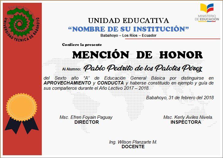 The 9 best Diplomas y Mencion de Honor editables en word images on ...
