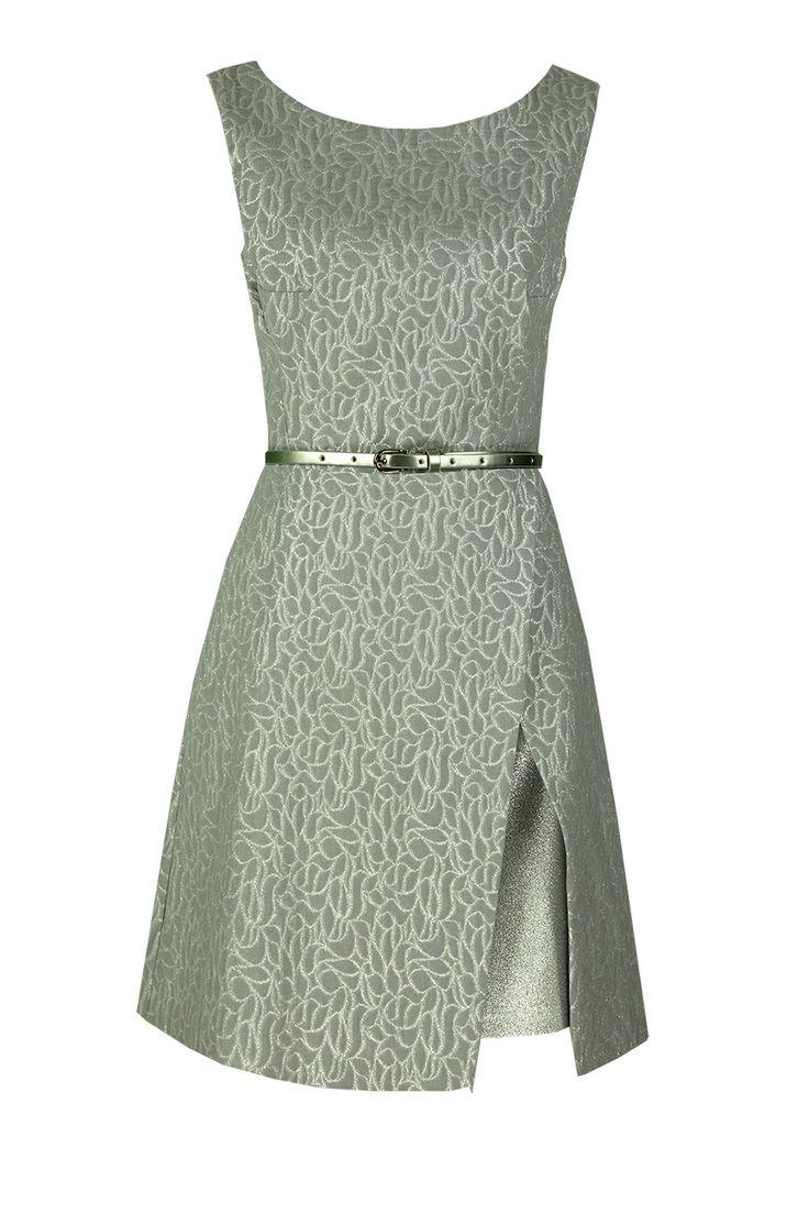 Sukienka Arsenia srebrzysty żakard Semper #dress #metallic #jacquard #silver #grey #fashion2016 #fashionbrand #occasionaldress #wedding #elegance #elegant #evening #designer #brand