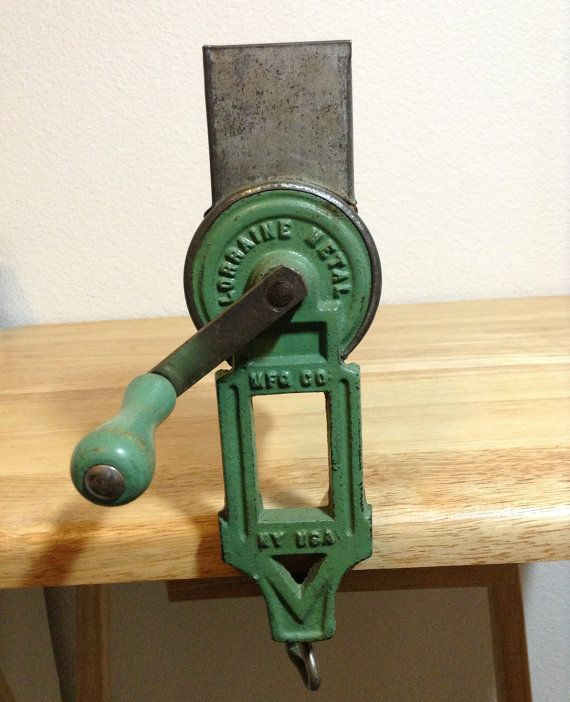 Vintage Crank Cheese Grater : Antique cast iron green wood handle hand crank grater