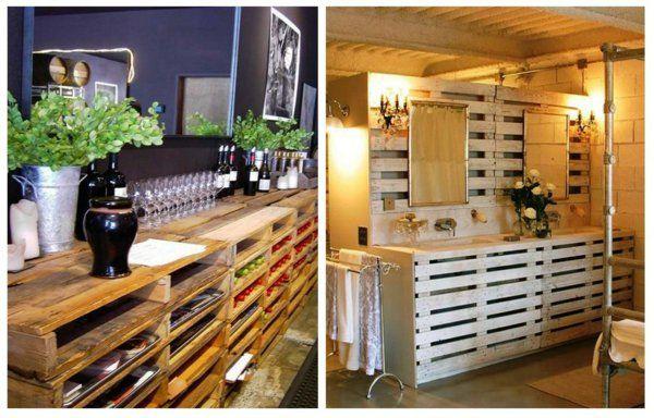 europaletten holz paletten möbel bastelideen DIY cool küche