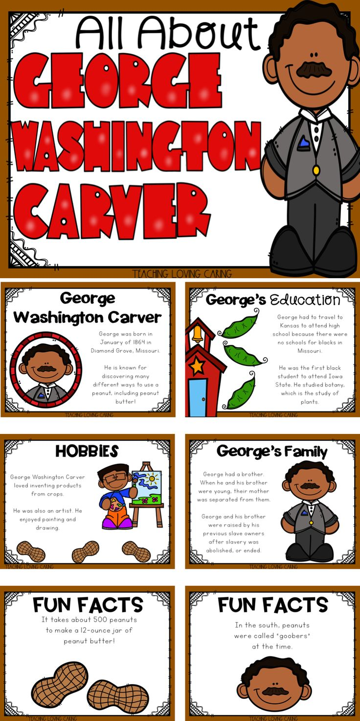 All About George Washington Carver. Use this kid-friendly presentation to teach your class All About Black Historical figures. This detailed mini lesson tells about the background, career, education, family-life, and fun facts of this historical figure in African American History.