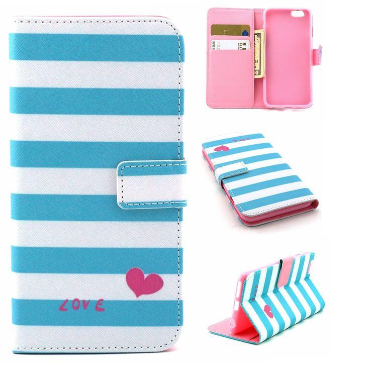 Синие полосы в форме сердца любовь дизайн искусственная кожа флип стенд держатель кошелек сумка крышка чехол для Apple , iPhone 6 S плюс 5.5  новый