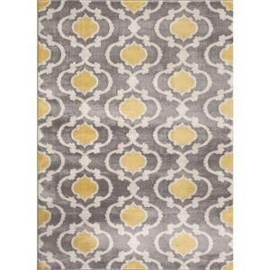 """World Rug Gallery Moroccan Trellis Contemporary Gray/Yellow 5 ft. 3 in. x 7 ft. 3 in. Indoor Area Rug 310 Gray Yellow 5'3""""X7'3"""" at The Home Depot - Mobile"""