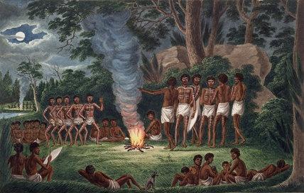 'Corroboree around a Camp Fire'.. Joseph Lycett
