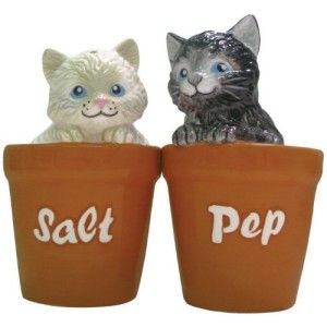 Magnetic Kittens in Pots Salt and Pepper Shaker These kittens peaking out of the little pots is so adorable. Perfect gift for a cat lover. http://theceramicchefknives.com/novelty-salt-and-pepper-shakers/ Magnetic Kittens in Pots Salt and Pepper Shaker