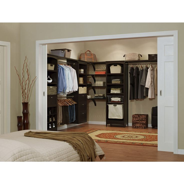 Shop allen + roth 8-ft Java Wood Closet Kit at Lowes.com