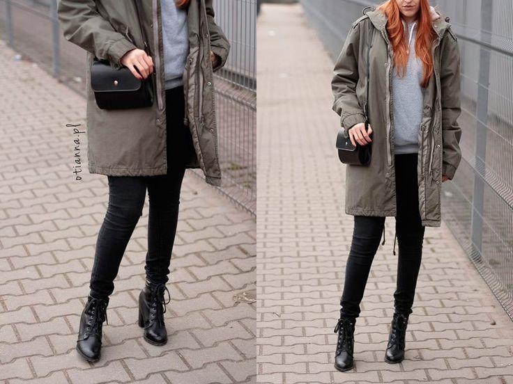 Parka khaki – H&M Bluza szara z kapturem – H&M Czarne rurki – H&M Czarna mała torebka – OTIEN (niebawem dostępna w wiosennej kolekcji) www.otianna.pl #look #strong #kiss #blog #otianna #lookbook #outfit #ootd #kobieta #woman #suede #simple #dress #fashion #fashionblogger #lbsdaily #polish #polishgirl #hair #rude #follow #blogger #fblogger #hm #me #girl #now #stylovepolki