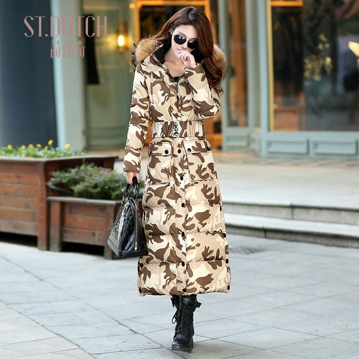 >> Click to Buy << Winter Camouflage Female Large Fur Collar Slim Thickening Ultra Long Down Coat #Affiliate