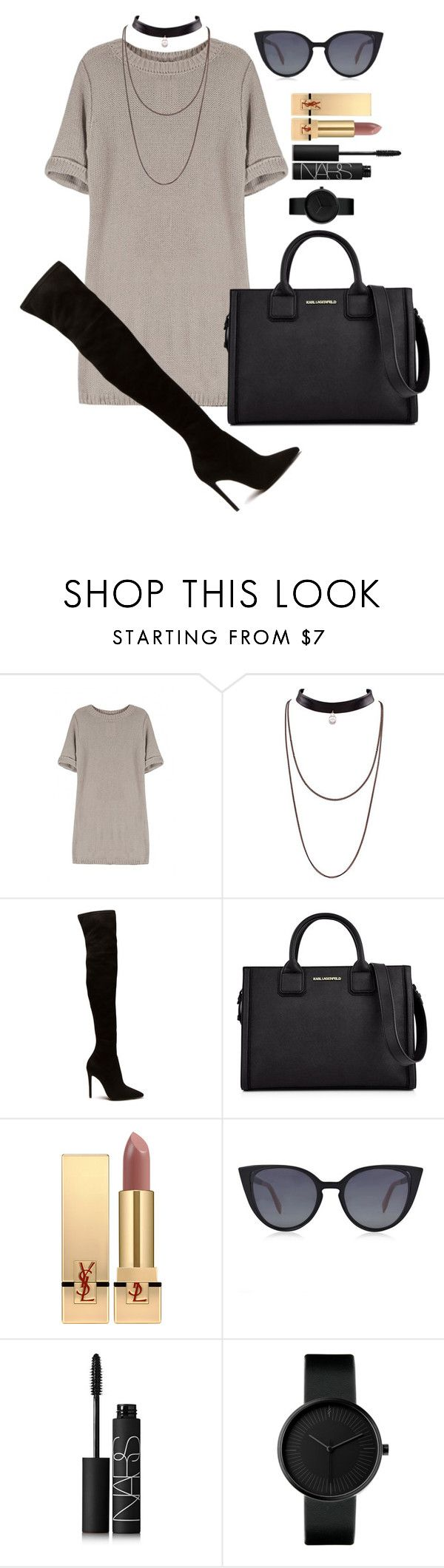 """""""Untitled #1598"""" by fabianarveloc on Polyvore featuring Karl Lagerfeld, Yves Saint Laurent, Fendi and NARS Cosmetics"""