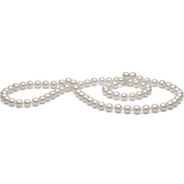26-inch 7.5-8.0 mm White Freshwater Pearl Necklace featuring polyvore, women's fashion, jewelry, necklaces, white, strand necklace, fresh water pearl necklace, infinity necklace, freshwater pearl jewelry and freshwater cultured pearl necklace
