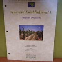 Vineyard Establishment I - Preplant Decisions By: Thomas Zabadal and Jeffery A. Anderesen) This Michigan State University Extension Bulletin is intended to assist in the process of establishing a vineyard. It addresses the following topics: selecting a vineyard site, designing a vineyard ,obtaining grapevines for planting and site preparation.