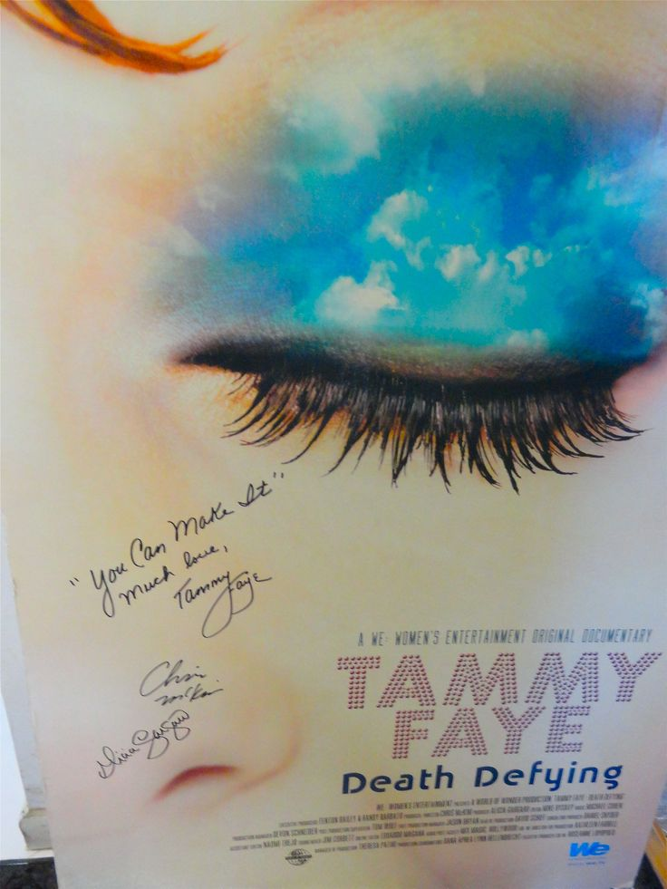 Eyes of Tammy Faye poster board signed by the late Tammy Faye Baker: This rare item was auctioned off at a past GLAAD Awards ceremony and was signed only weeks before Tammy Faye Baker passed away. It is also signed by the filmmakers. It is a poster board size @ 30 inches by 48 inches.