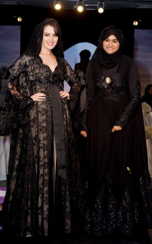 Lace abaya...lovely, but I would have a decent neckline and fully lined sleeves