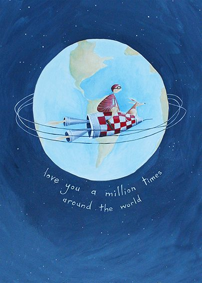 I Love You a Million Times Around the World - by Wellington artist, Crispin Korschen. Available as a blank note-card from www.imagevault.co.nz