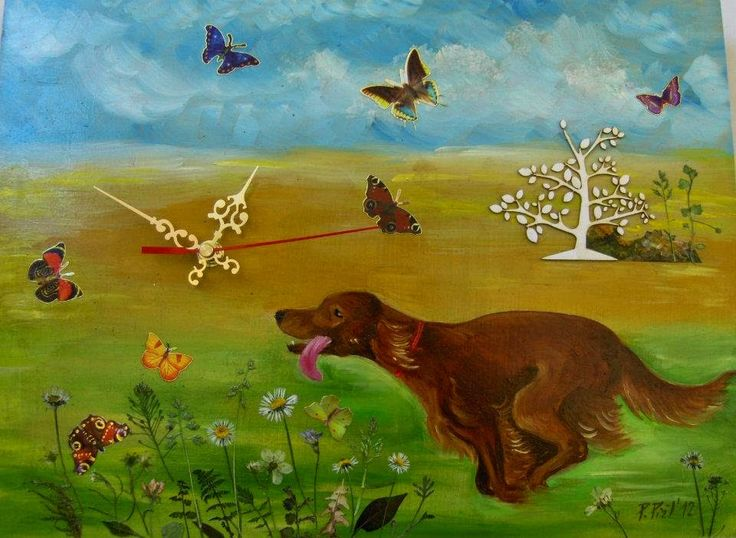 Time is going on... painted clock. Irish setter running. Funy painted clock. #clock #funny #dog #setter #time #handmade #canisartstudio