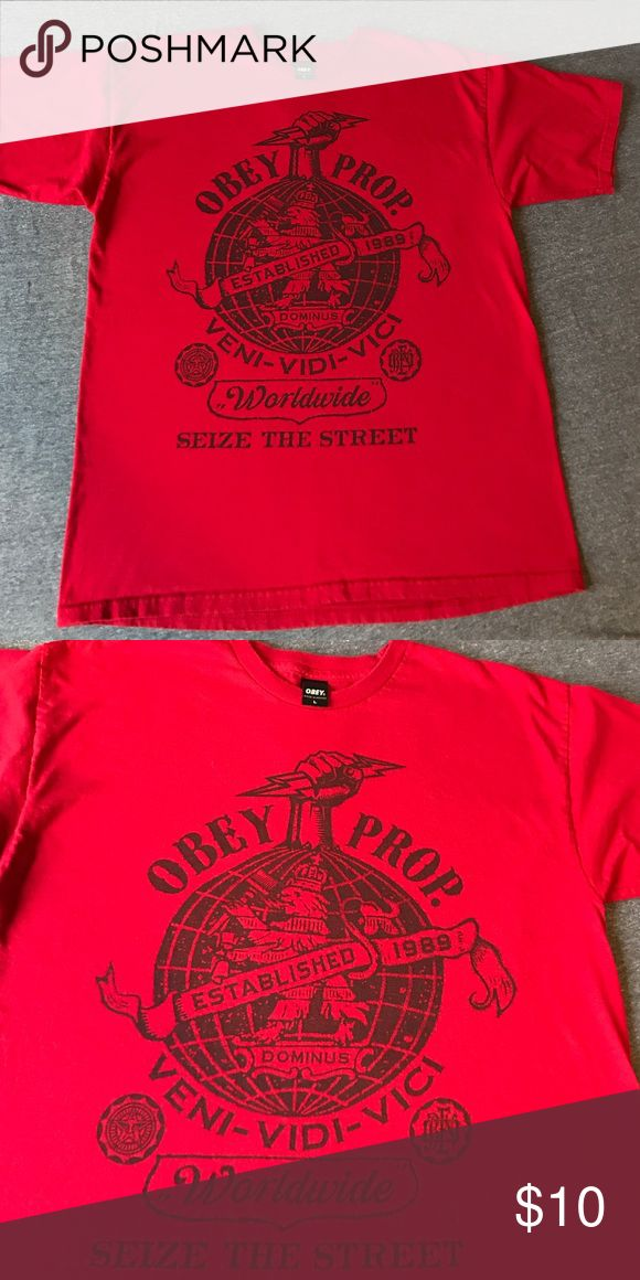Obey tee shirt Men's, red cotton Obey tee shirt. Washed but never worn. Excellent condition no rips or stains. Obey Shirts