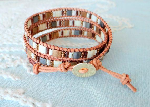 Leather Wrap Bracelet With Tila Beads от MaisJewelry на Etsy