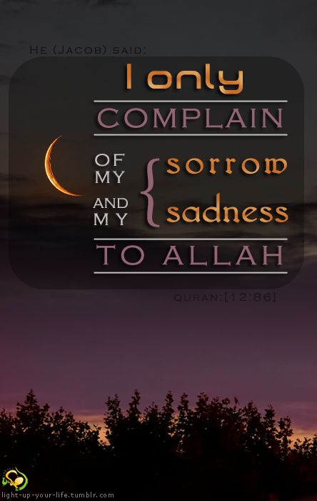 light-up-your-life:  Allah teaches us to complain for our pain to our merciful creator, because He is the only who really knows what is inside us, and the only one who can change our sadness into happiness… Arabic translation: {قَالَ إِنَّمَا أَشْكُو بَثِّي وَحُزْنِي إِلَى اللَّهِ }