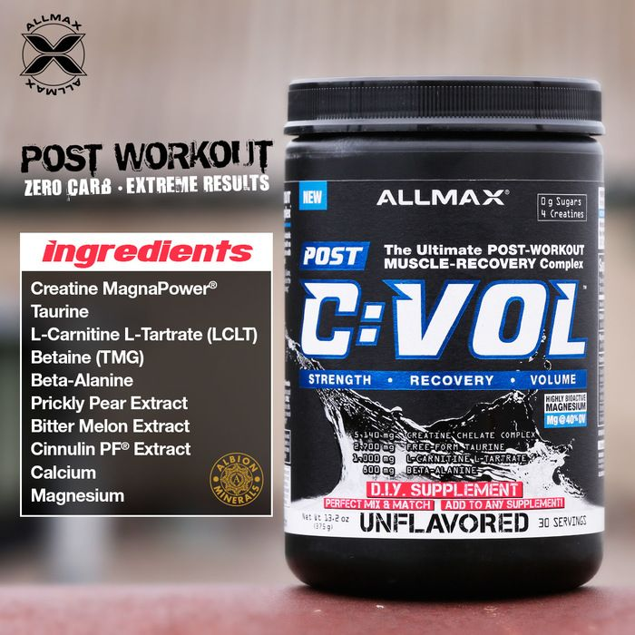 """#CVOL has been formulated with 5g of 4 types of Creatine, 2.5g L-Taurine, 1g L-Carnitine L-Tartrate, 800mg Beta-Alanine and 800mg Betaine; a rock-star list of the """"go-to"""" ingredients, dosed at effective levels for rapid recovery from intense training.  It's absolutely delicious, 100% sugar-free with next to no carbs. #CVOL is available in flavors of Coconut Lime Mojito, Raspberry Kiwi Kamikaze & Capsules."""