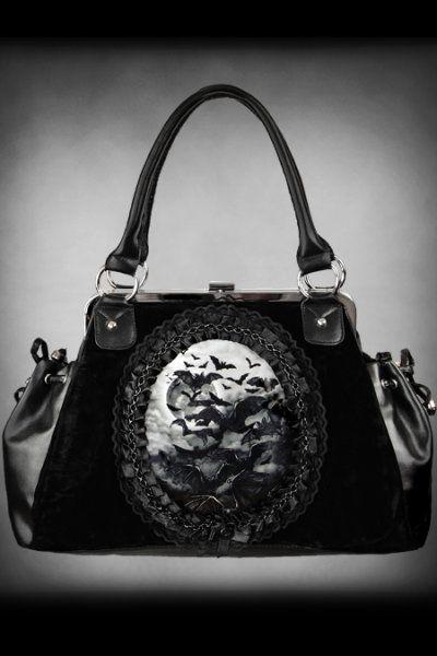 Vamp Bat Cameo Black Velvet Handbag by Restyle