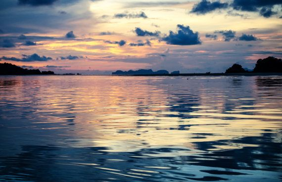 Sky reflecting at sunset - Koh Lanta, Thailand - Travel Photography - Wall Art - Home Decor - Office Decor - Beach